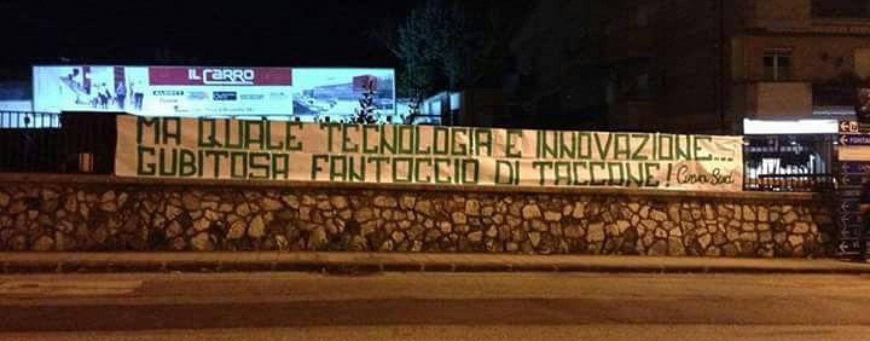 Avellino Calcio – Striscione contro Gubitosa nella notte