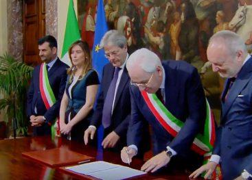Periferie, sindaco Foti a Roma per la firma con il premier Gentiloni