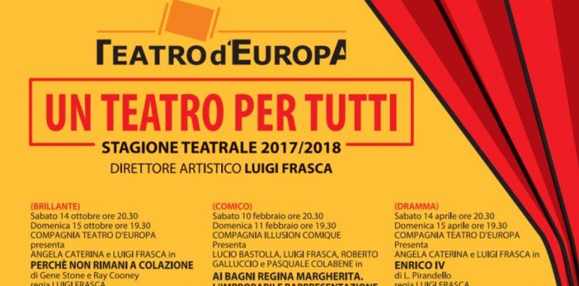 Teatro D'Europa, parte la campagna abbonamenti per la nuova stagione