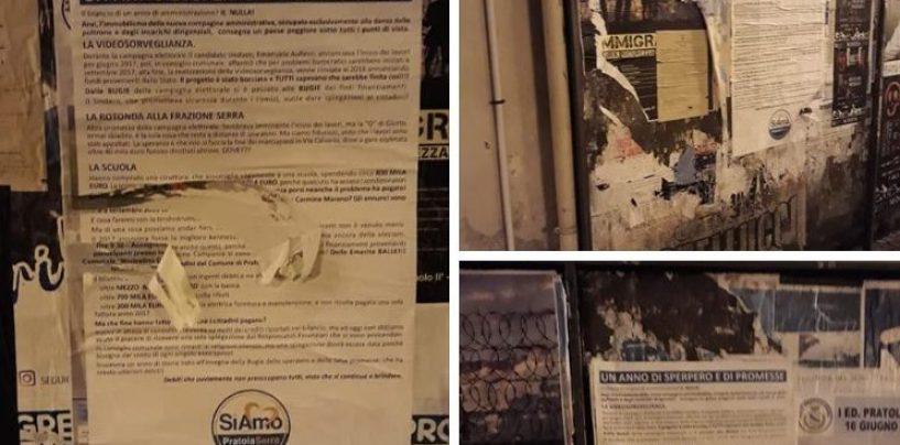 Strappati i manifesti contro l'amministrazione, protesta la minoranza