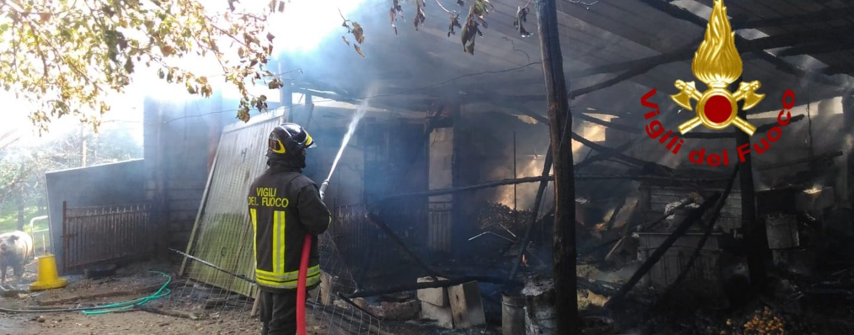 Aiello del Sabato, le fiamme distruggono un deposito agricolo