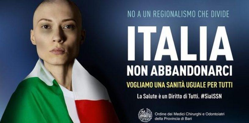 """Autonomia, manifesti-choc dell'Ordine dei Medici: """"Italia non abbandonarci. Vogliamo una Sanità uguale per tutti"""""""