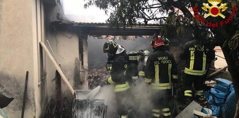 FOTO E VIDEO / Maltempo, incendio in un capanno agricolo di Pago Vallo Lauro: in fumo 20 quintali di nocciole