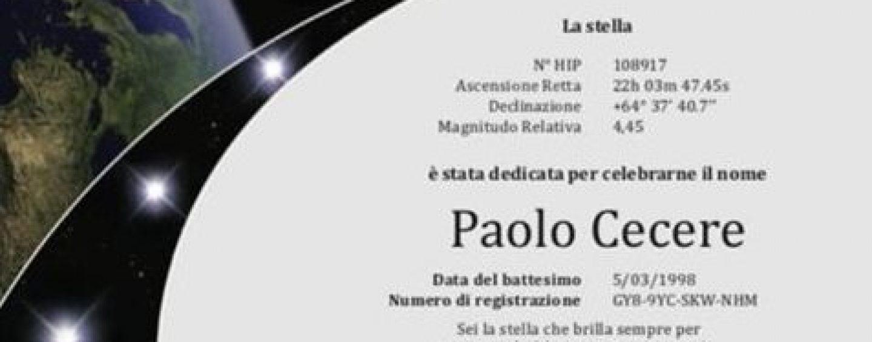 Prata dedica una stella a Paolo Cecere, tragicamente scomparso in un incidente stradale