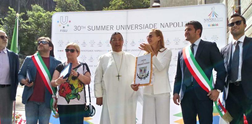 """FOTO/ Universiadi, al via la staffetta da Montevergine. L'abate: """"Sia strumento di pace"""""""