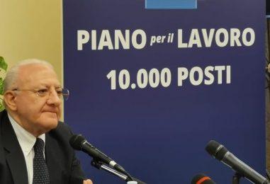 """De Luca lancia i dettagli del Piano Lavoro: """"A ottobre cambieremo la vita a 3mila campani"""""""