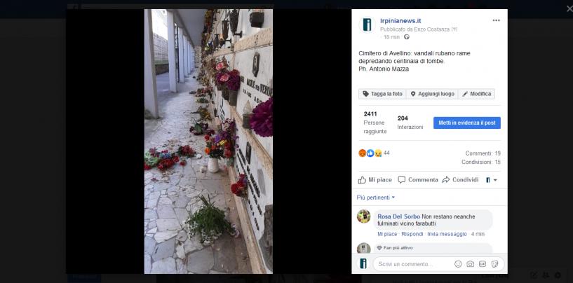 Tombe saccheggiate: vandali in azione nel cimitero di Avellino
