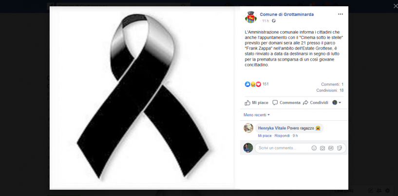 Grottaminarda piange la morte del giovane di 23 anni. Il Comune annulla gli eventi di questi giorni