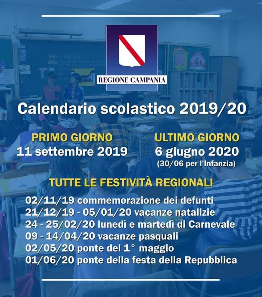 Calendario Scolastico 2020 18 Puglia.Scuola Ecco Il Calendario Scolastico 2019 20 In Campania