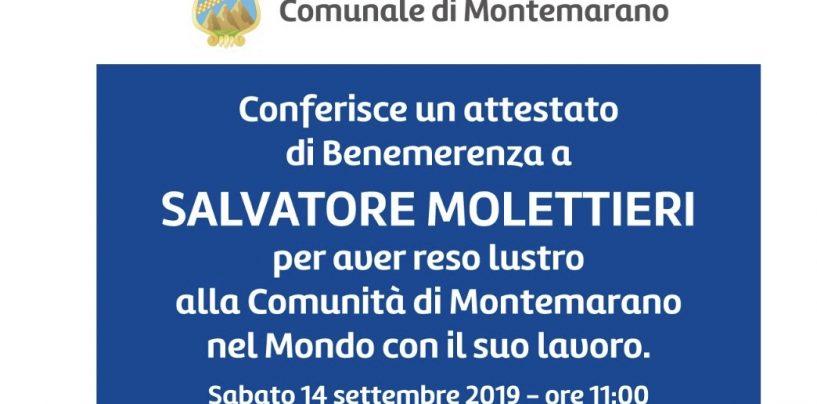 """Montemarano, attestato di Benemerenza al """"Gigante dell'Aglianico"""" Salvatore Molettieri"""