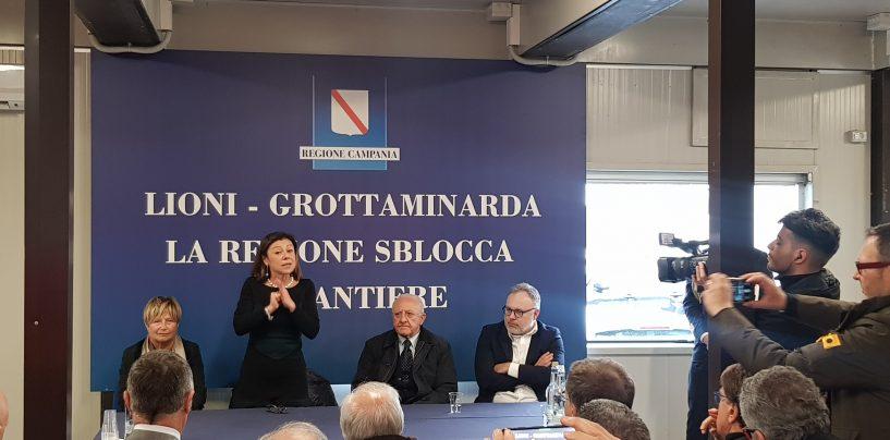 D'Amelio, De Luca e De Micheli visitano il cantiere della Lioni-Grottaminarda
