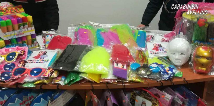 FOTO/ Carnevale sicuro, blitz al negozio cinese: mille euro di multa e maxi sequestro