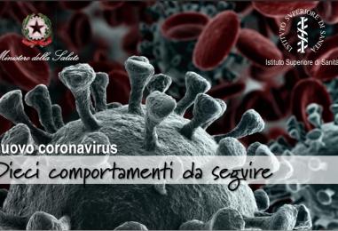 Coronavirus, i 10 consigli del Ministero della Salute per evitare il contagio