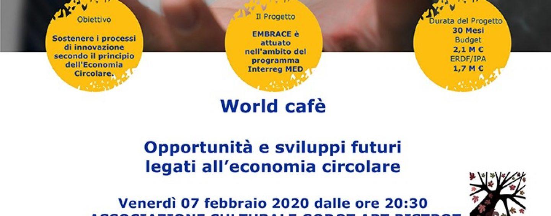 """Progetto Embrace: oggi """"World Cafe"""" Al Godot Art Bistrot di Avellino"""