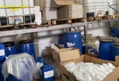 VIDEO/ San Giorgio a Cremano, sigilli ad una fabbrica: spacciava igienizzante per disinfettante