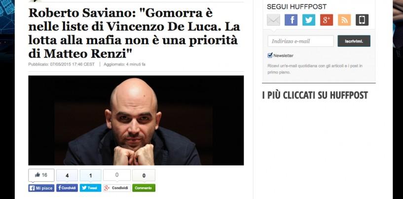 """Roberto Saviano choc: """"Gomorra è nelle liste di Vincenzo De Luca"""""""