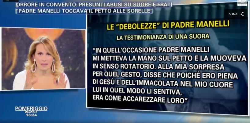 """""""Padre Manelli toccava il petto alle suore"""", la testimonianza a Pomeriggio 5"""