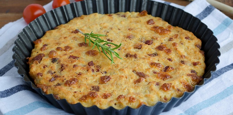 Ricette veloci – Focaccia di pane con patate, prosciutto e formaggio