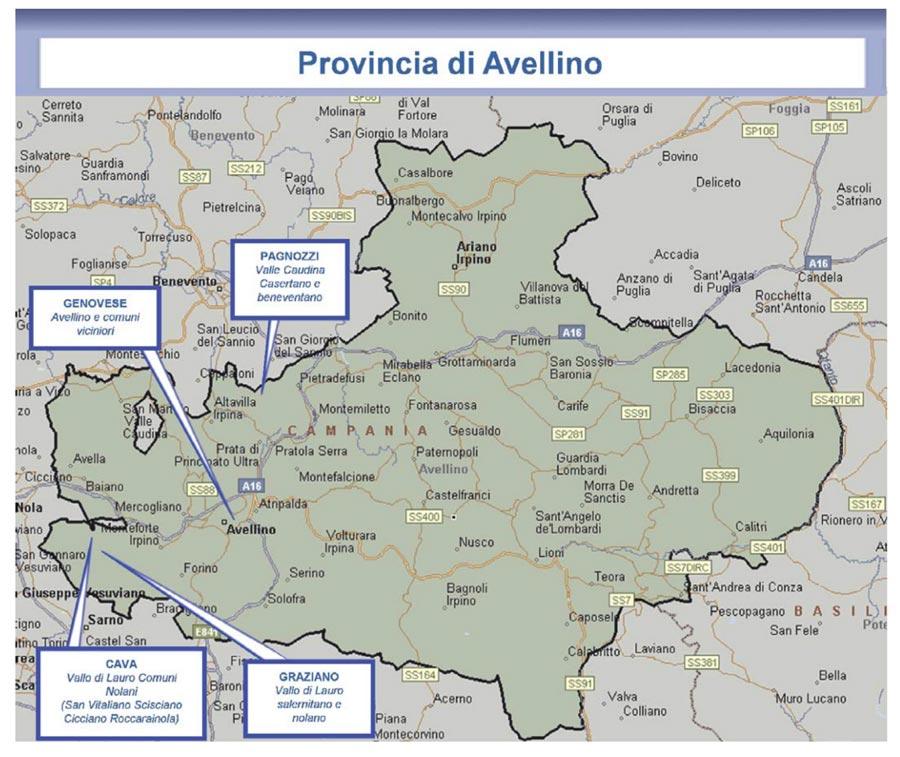 La mappa della mala in Irpinia