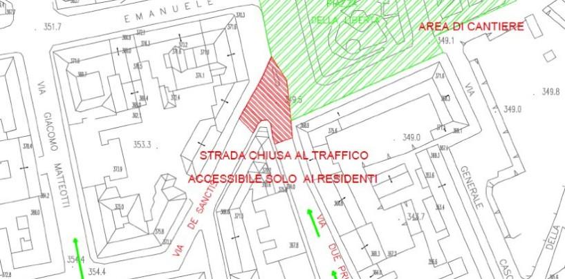 Piazza Libertà, partono oggi i lavori tra via De Sanctis e via Due Principati. Ripristinato il senso di marcia a via Pironti