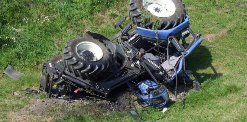Quindici, trattore si ribalta: un ferito