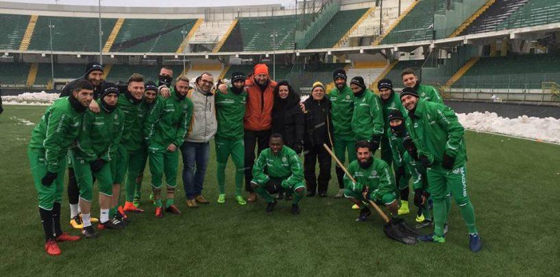 Avellino Calcio – I quad spazzano la neve al Partenio: Gubitosa ringrazia