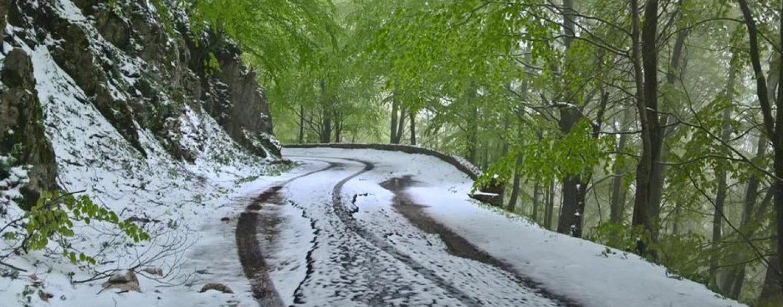 FOTO/ Aprile irpino come dicembre, neve a Monteverde e sul Partenio