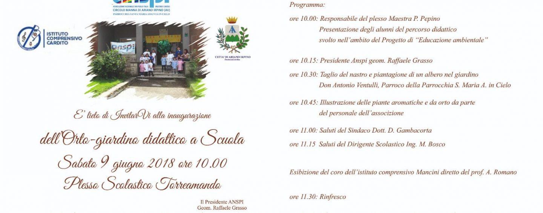 Ariano, si inaugura l'orto-giardino didattico nel plesso di Torreamando