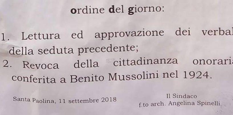 Santa Paolina revoca dopo 94 anni la cittadinanza onoraria a Benito Mussolini