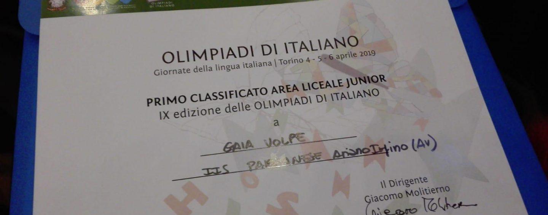 Ariano trionfa alle Olimpiadi di Italiano con la studentessa Gaia