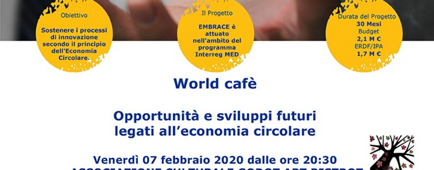 "Progetto Embrace: oggi ""World Cafe"" Al Godot Art Bistrot di Avellino"