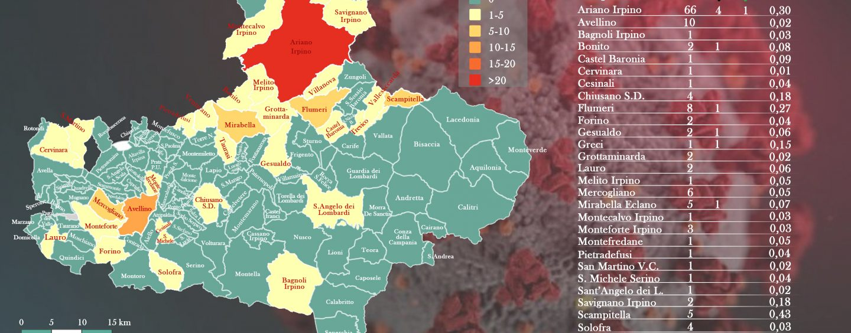 INFOGRAFICA/ Coronavirus: 144 casi in oltre 30 comuni irpini. La mappa del contagio