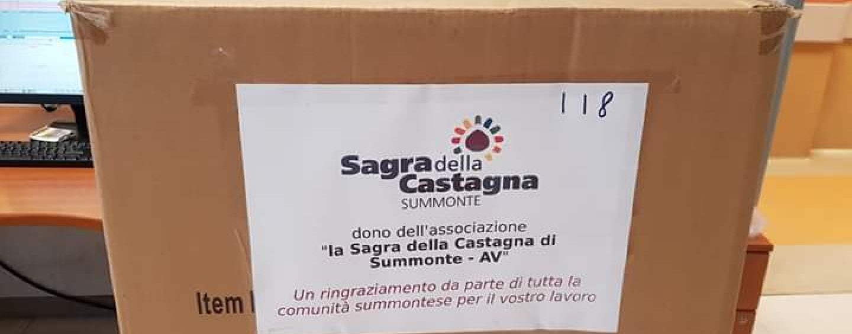 """Summonte, l'associazione """"Sagra della castagna"""" regala 200 tute protettive al Moscati"""