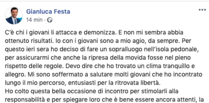 """Caso movida, Festa prova a chiarire su Facebook: """"Dove c'è la vita di Avellino ci sono io"""""""