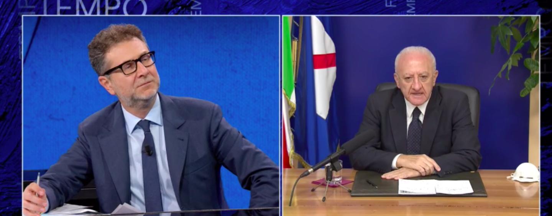 """De Luca da Fazio: """"Campania zona rossa lascia zone d'ombra"""". """"Di Maio ha detto cose ignobili"""""""