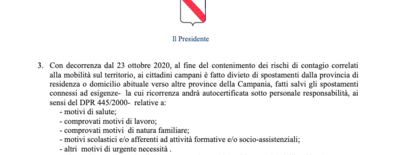 Coprifuoco e spostamenti tra province: Irpinianews in diretta per spiegare l'ordinanza di De Luca