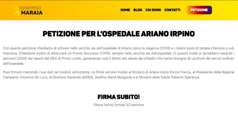 L'on. Maraia lancia una petizione online per l'ospedale di Ariano Irpino