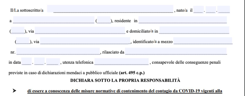 Campania zona rossa: ecco l'autocertificazione per gli spostamenti consentiti