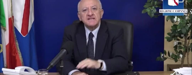 """VIDEO/De Luca : """"Ringrazio i cittadini di Ariano Irpino, sono stati d'esempio per tutta la Campania facendo 13.000 test molecolari"""""""