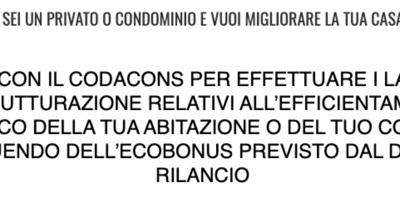 Ecobonus 110%, dal Codacons assistenza ai cittadini campani