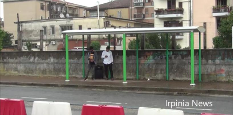Avellino, montate le pensiline al terminal bus di via Fariello dall'Air/VIDEO