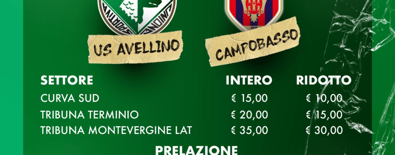Avellino – Campobasso, da domani via alla prevendita