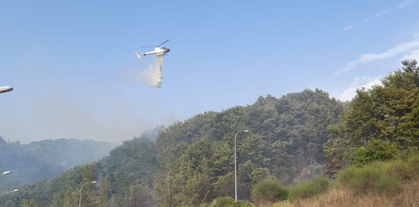 Incendi, il forte vento alimenta le fiamme in Irpinia: a Castelfranci arriva l'elicottero