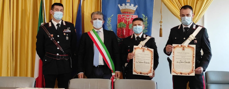 Sperone, il sindaco Alaia conferisce l'encomio per compiti speciali all'arma dei carabinieri