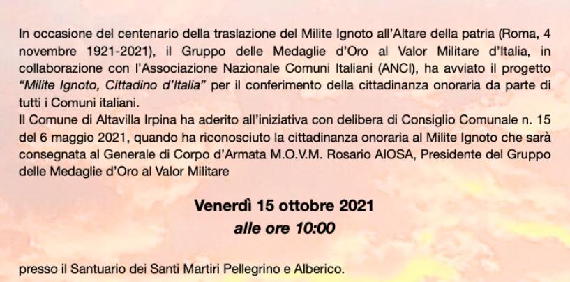 Altavilla Irpina, Cittadinanza Onoraria al Milite Ignoto. Domani la cerimonia col Generale Aiosa