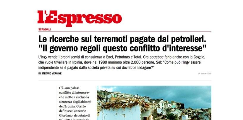 """La denuncia di Giordano: """"Le ricerche sui terremoti pagate dai petrolieri"""""""
