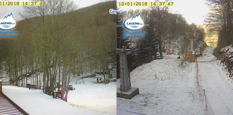 Arriva la prima neve del 2016 sul Laceno. Le previsioni meteo ad Avellino